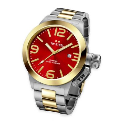 Two-Tone Stainless Steel with Red Dial
