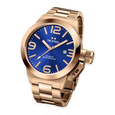 TW Steel Unisex 45mm Canteen Bracelet Watch in PVD Rose Gold-Plated Stainless Steel with Blue Dial