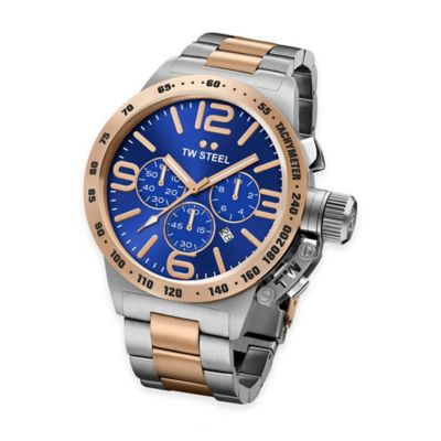 TW Steel Unisex 45mm Canteen Chrono Bracelet Watch in Two-Tone Stainless Steel with Blue Dial