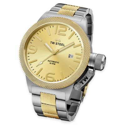 TW Steel Unisex 45mm Canteen Hammered Mid-Piece Watch in Two-Tone Stainless Steel with Goldtone Dial