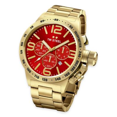 Gold-Plated Stainless Steel with Red Dial