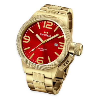 TW Steel Unisex Canteen Hammered Mid-Piece Watch in Gold-Plated Stainless Steel with Red Dial