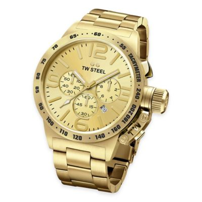 TW Steel Unisex 45mm Canteen Chronograph Bracelet Watch in PVC Yellow Gold-Plated Stainless Steel