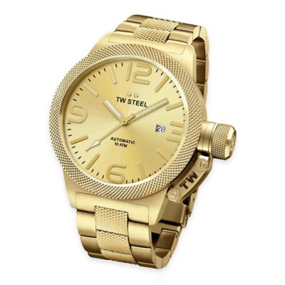 TW Steel Unisex 45mm Canteen Hammered Mid-Piece Watch in PVC Yellow Gold-Plated Stainless Steel