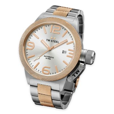 TW Steel Unisex 50mm Canteen Hammered Mid-Piece Bracelet Watch in Two-Tone Stainless Steel