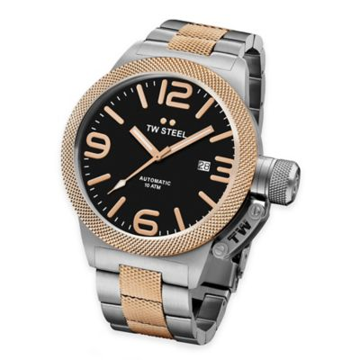 TW Steel Unisex 50mm Canteen Hammered Mid-Piece Watch in Two-Tone Stainless Steel with Black Dial