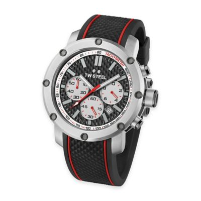 TW Steel Men's 48mm Grandeur Tech Chronograph Watch in Stainless Steel with Black Silicon Strap