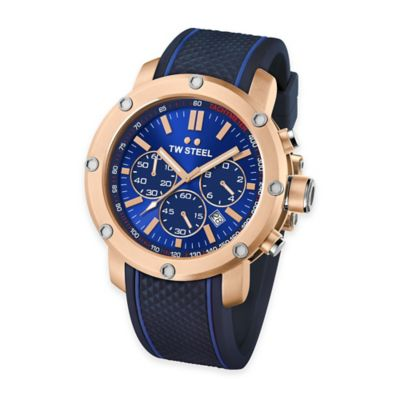 TW Steel Men's Grandeur Tech Chrono Watch in Gold-Plated Stainless Steel w/Blue Dial and Black Strap