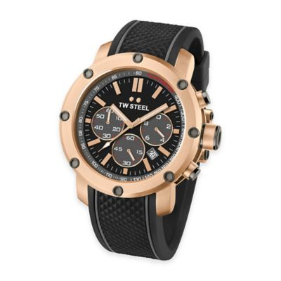 TW Steel Men's Grandeur Tech Chrono Watch in Gold-Plated Stainless Steel with Black Dial and Strap