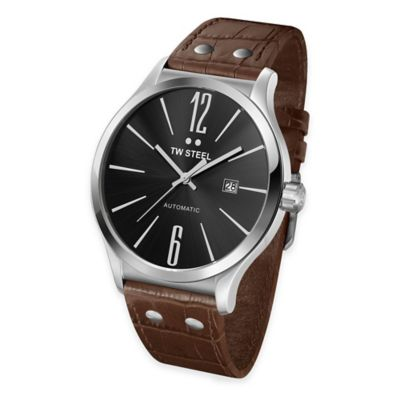 TW Steel Men's 45mm Slim Line Round Watch in Stainless Steel with Brown Croc-Embossed Strap