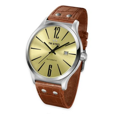 TW Steel Men's 45mm Slim Line Round Watch in Stainless Steel with Light Brown Croc-Embossed Strap