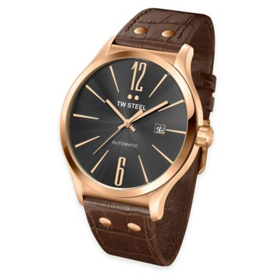 TW Steel Men's 45mm Slim Line Round Watch in PVD Rose Gold-Plated Stainless Steel with Brown Strap