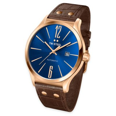 TW Steel Men's 45mm Slim Line Round Watch in Gold-Plated Stainless Steel w/Blue Dial and Brown Strap