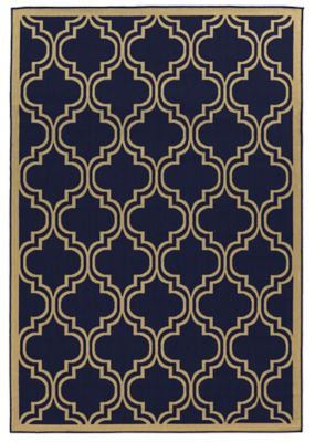 Linon Home Innovations 6-Foot 6-Inch x 9-Foot 6-Inch Reversible Indoor/Outdoor Rug in Beige