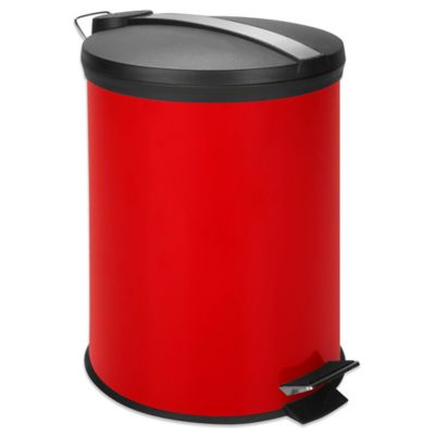 Equip Your Space 12-Liter Metal Step Trash Can in Red