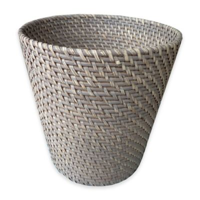 Meredith Hapao Rattan Wastebasket in Grey