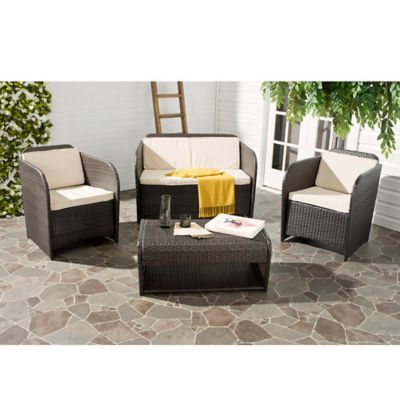 Safavieh Caprina 4-Piece Outdoor Set in Brown/Beige