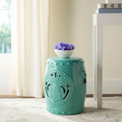 Safavieh Dragon Coin 17-Inch Garden Stool in Light Blue