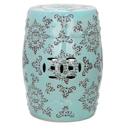 Safavieh Medallion 18.5-Inch Garden Stool in Light Blue/Grey