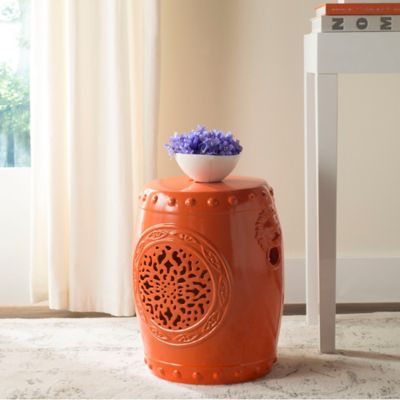 Safavieh Flower Drum 17-Inch Garden Stool in Orange
