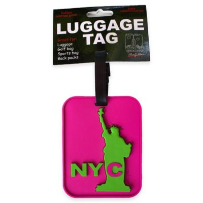 New York Statue of Liberty 3-D Luggage Tag in Pink