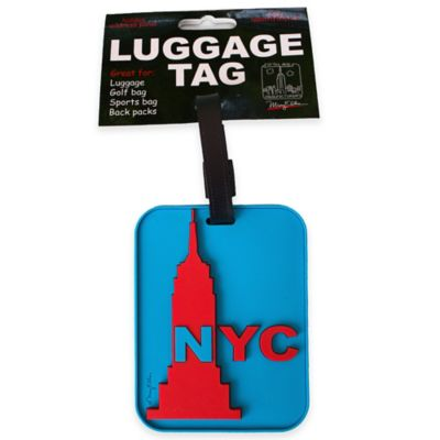 New York Empire State Building 3-D Luggage Tag in Blue