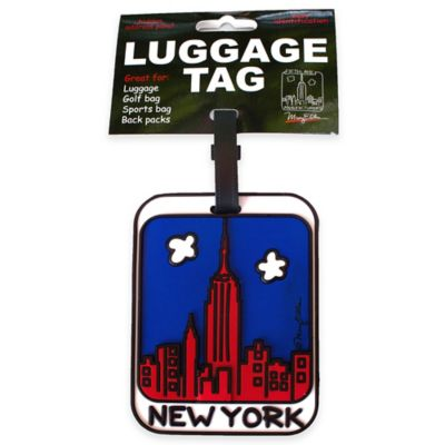 New York Skyline 3-D Luggage Tag in Red