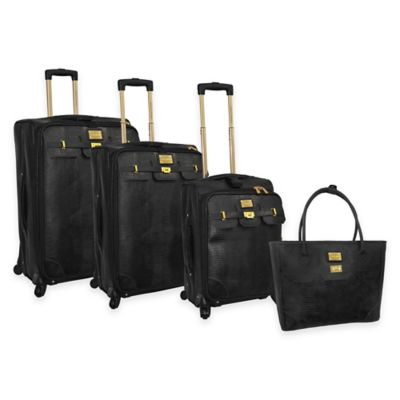 Adrienne Vittadini 4-Piece Denier/Faux Lizard Luggage Set in Black