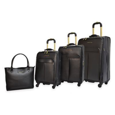 Adrienne Vittadini 4-Piece Faux Hide Luggage Set in Brown