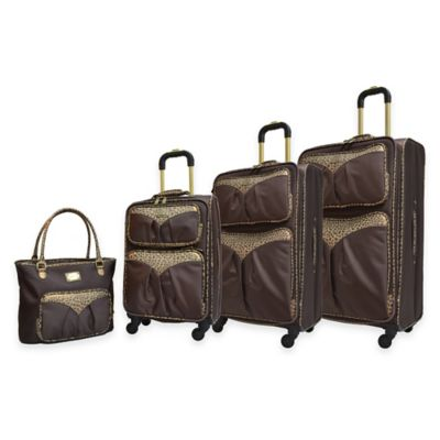 Adrienne Vittadini 4-Piece 1680 Denier Luggage Set in Brown/Tan