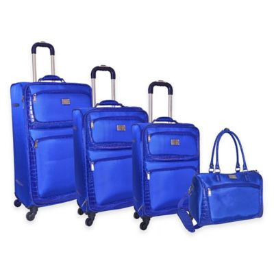 Adrienne Vittadini 4-Piece Denier/Faux Ostrich Luggage Set in Navy Blue