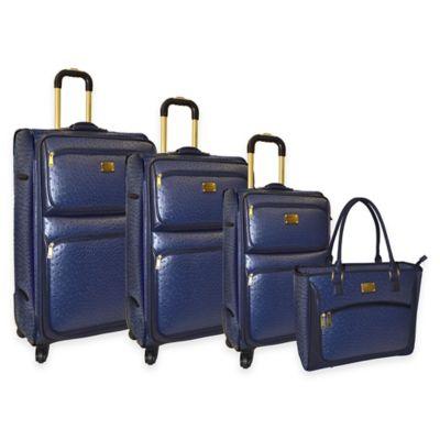 Adrienne Vittadini 4-Piece Denier/Faux Ostrich Luggage Set in Navy Blue