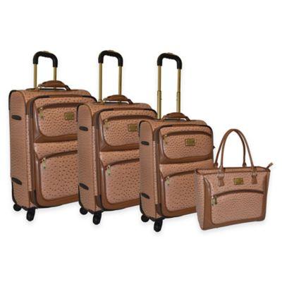 Adrienne Vittadini 4-Piece Denier/Faux Ostrich Luggage Set in Natural