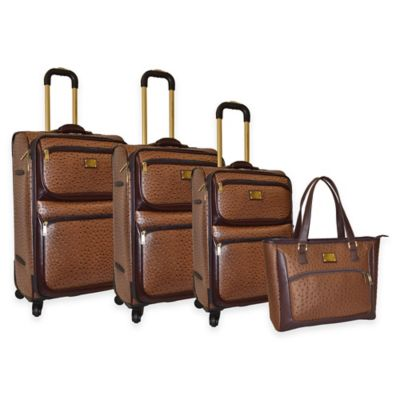 Adrienne Vittadini 4-Piece Denier/Faux Ostrich Luggage Set in Brown