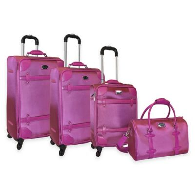 Adrienne Vittadini 4-Piece 1680 Denier with Faux Leather Trim Luggage Set with Tote in Raspberry
