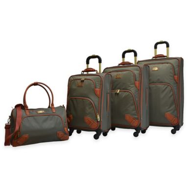 Adrienne Vittadini 4-Piece Nylon Luggage Set with Tote in Olive