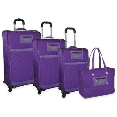 Adrienne Vittadini 4-Piece Lightweight Quilted Luggage Set with Tote in Purple