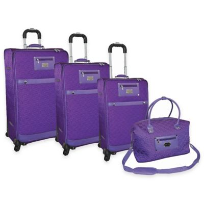 Adrienne Vittadini 4-Piece Quilted Nylon Luggage Set with Duffle in Purple