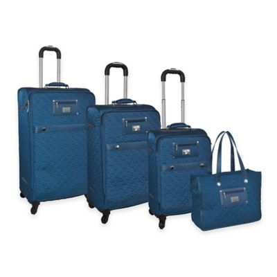 Adrienne Vittadini 4-Piece Quilted Nylon Luggage Set in Teal