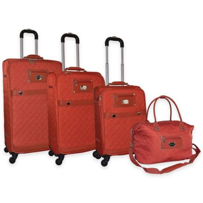 Adrienne Vittadini 4-Piece Quilted Nylon Luggage Set in Burnt Orange