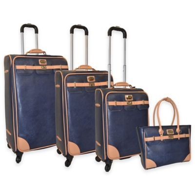 Adrienne Vittadini 4-Piece Textured PU with Saffiano Trim Luggage Set in Navy Blue