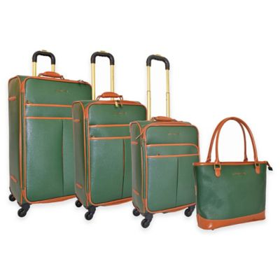 Adrienne Vittadini 4-Piece Faux Hide Luggage Set in Green