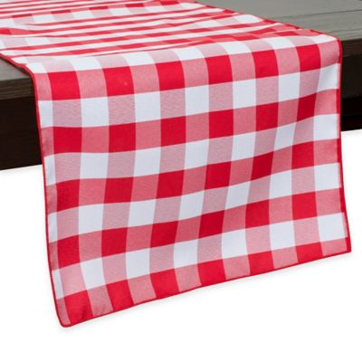 Gingham Poly Check 72-Inch Table Runner in Red/White