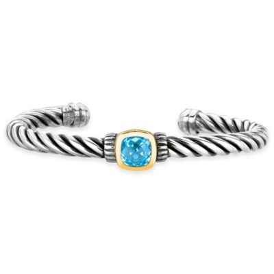 Phillip Gavriel Sterling Silver and 18K Gold Blue Topaz 7-1/2 Inch Cable Cuff Bracelet