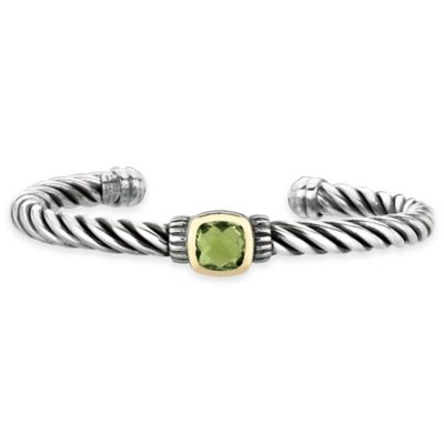 Phillip Gavriel Sterling Silver and 18K Gold Green Amethyst 7-1/2 Inch Cable Cuff Bracelet