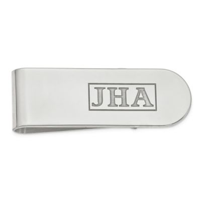 Sterling Silver Engraved Initial Money Clip