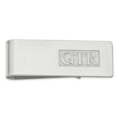 Sterling Silver Raised Initial Money Clip