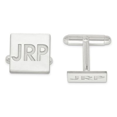 Sterling Silver Recessed Initial Polished Square Cufflinks