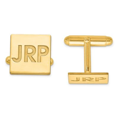 Yellow Gold-Plated Sterling Silver Recessed Initial Polished Square Cufflinks