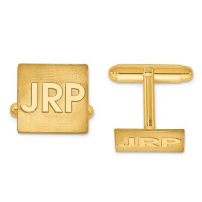 Gold Plated Sterling Silver Raised Block Initial Square Cufflinks